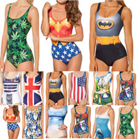 Women alice bikini - 2014 New Bikini S Bodysuit Batman Shark Beach Skeleton Skull Swimsuit Alice in Wonderland Captain America Digital Printing Swimwear Women