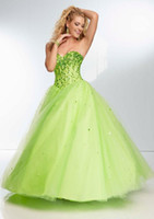 Reference Images Sweetheart Chiffon Hot Sale Sparkle Beaded Sweetheart Aqua Lime Green Tulle Ball Gown Prom Dresses 2015