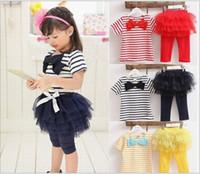 Wholesale discount clothing set Summer stripe cotton yarn skirt suit girls kids clothes Short suit children Children s Outfits Sets JUN2