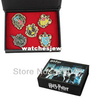 Wholesale set harry potter brooch for cosplay party Ravenclaw Hogwarts Slytherin Hufflepuff brooch for HP FANS