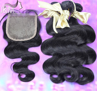 Wholesale inch Hair Weaves Saga Brazilian Virgin Hair Silk Body Wave Top Lace Closure With Bundles