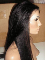 Wholesale Natural Hairline Brazilian Human Hair Yaki Straight Glueless Full Lace Wigs Front Lace Wig Natural Color
