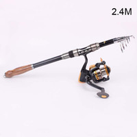 Fly Fishing 240cm 7.87FT+YB2000 fishing rod with reel Fishing Pole Carbon 240cm 7.87FT Telescopic Spinning Fishing Rod With Reel YB2000 Fishing Tools Set For Sea Rock