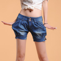 Wholesale 285 women s new style elastic bloomers hot denim shorts