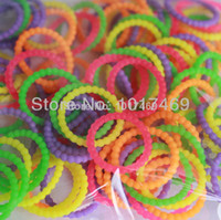 Wholesale New arrival and popularrainbow pearl loom bands s clip hook DIY loom band silicone rubber bracelet