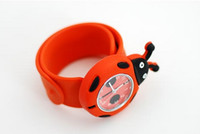 Wholesale Good Quality Red Ladybug Kids Teens Cartoon Rubber Band Slap Watch Hot Selling Children Superheros Animals School Dress Snap Wristwatch Gift