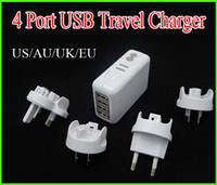 No   4Ports 4 port USB Travel Charger US+AU+UK+EU Plugs Travel Wall Charger HUB AC Power Adapter Universal for iphone ipad Samsung Galaxy note