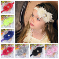 Wholesale 2014 Baby Head Bands Christmas gift Baby Headband hair band Girl Hair Accessories Flower With Pearls Rhinestones