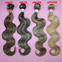 Brazilian Hair Body Wave 100% human hair extensions 100% Human hair extensions 5A brazilian color #4 27 4 24 8 613 27 613 body wave remy hair two tone 16-26inch 3 4 5pcs lot free shipping