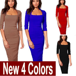 Womens classic Square Neck 3 4 Sleeve back Zipper Black Red Blue Khaki Elegant Formal Tunic Bodycon Slim Fit Pencil Dress free shipping