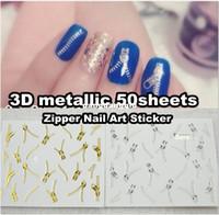Wholesale Sheet x D Design Tip Nail Art Sticker Decal Manicure Mix Color Zipper Sticker NSZ50