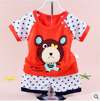 Wholesale 2014 summer children suit boys cotton short sleeve children s clothes Cubs star Ai home Bebe