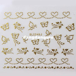 Wholesale Designs D Metal Nail Art Stickers Golden Lace Butterfly Heart Star Line Sheets NEW