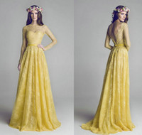 2016 Elegant Long Sleeve Yellow Lace Bridesmaid Dresses Shee...