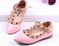 Wholesale 2014 Medium large girl child rivet princess shoes kids leather single shoes gladiator sandals girls sandals girls shoes G66