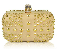 Cheap Famous designer luxury gold evening bag, Punk skull rivet rhinestones clutches, UK flag party bags handbag clutch bags