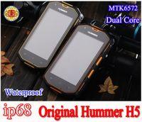 Wholesale 2014 NEW Hummer H5 Phone IP68 Waterproof Phone G GPS Screen MTK6572 Dual Core GHZ MB GB MP Camera Dustproof Shockproof Phone