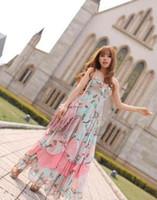Casual Dresses Round A Line Brand New Fashion Women Floral V-Neck Beach Boho Maxi Sundress Long Irreguler Dress