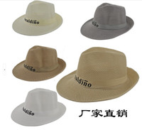 Wholesale Summer Big Brim Straw Jazz Hat Breathable Linen Hat Beach Outdoor Travel Wide Brimmed Cap For Fashion Men