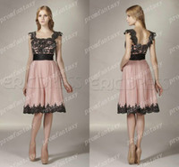 Wholesale 2014 Knee Length Multi Color Blush Pink Chiffon and Black Lace Appliques Modest Square Neckline Cap Sleeves Cheap Beach Bridesmaid Dresses