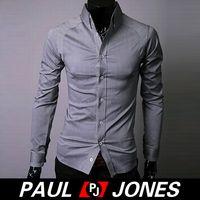 Casual white dress shirt for men - Hot Sale Shirts PJ Casual Mens Shirts Slim line Stylish Long Sleeves Dress Shirts for Men Size S XL White Grey Black CL2296