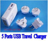 No   5 Ports Charger USB Travel Wall power Adapter 5V 4.1A Universal Travel Charger with EU US AU UK Plugs for Mobile Phone Tablet Camera