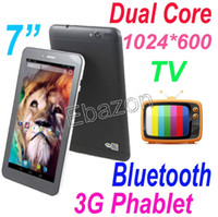 Wholesale 7 Inch G WCDMA Dual Sim Card Slot Analog TV Bluetooth Tablet PC Android MTK8312 Dual Core Phablet HD Screen Wifi GB M