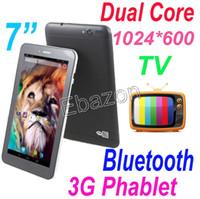 7 Pouces 3G WCDMA Double emplacement pour Carte Sim, TV Analogique Bluetooth de la Tablette PC Android 4.2 MTK8312 Dual Core Phablet 1024*600 Écran HD Wifi 4 GO 512 MO