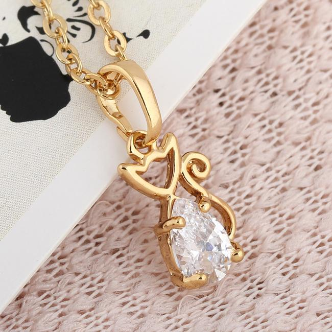 Buy 18K Yellow Gold Filled Pendants Necklace Cute Cat Plating Jewelry Women Lady Party D0428-J-B*1