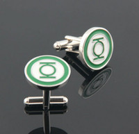 Wholesale Fashion Green Lantern Cufflink For Shirt French Cufflinks Fathers Day Gifts For Mens Jewelry Cuff Links C15