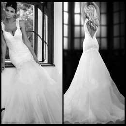 Wholesale Sexy V Neck Lace Wedding Dress Low Back Allure Spaghetti Straps Wedding Dresses New Arrival
