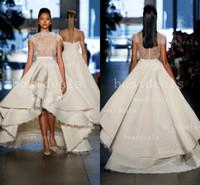 2014 Beach Vintage A Line Wedding Dresses Sheer Lace High Ne...