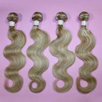 "Brazilian Hair Body Wave 16 18 20 22 24 26 inch 100% human hair extensions 5A body wave #27 613 brazilian hair piano color weave 16""-26"" mix length 3pcs lot DHL free shipping"