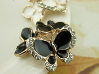 Wholesale Butterfly Metal Crystal Button Black White Mix Color B12