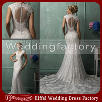 Wholesale Elegant Gypsy Wedding Dress Mermaid V Neck Illusion Keyhole Back Lace Bridal Gowns with Court Train