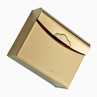 Wholesale Gold plating Thick Stainless Steel Grass Carton Tissue Box Toilet Paper Box Tissue Holders R1406