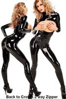 Wholesale 5pcs Good quality Lady Gaga Style Long Sleeves Chest Cutout Black Wet Look Leather Two Ways Zipper Tight Sexy Catsuit Bodysuit