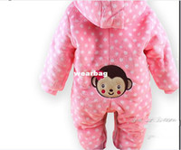 Unisex Summer Hooded Wholesale-1PCS winter warm Baby romper baby One-Piece romper one-piece Hooded Cut monkey jumpsuit clothing Free Shipping LT005