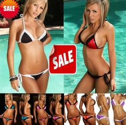 Fashion Sexy women bikini swimwear beachwear lace Bikinis suits lace-up T-back briefs knickers Pure Colour