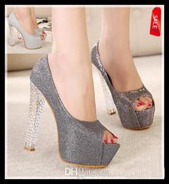 Promotion pompes paillettes gris New Exquiste coréenne cristal talons argent plate-forme haute grise peep toe glitter pompe scintillantes femmes sexy chaussures de mariage de taille 34 de la livraison gratuite