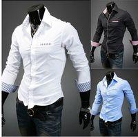 Wholesale Fashion new men shirts Korean Long Sleeve Slim Fit Plaid casual Shirts