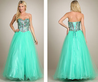 Cheap Princess Floor-Length Prom Dresses Charming Aqua Green Net Prom Gown Sweetheart Neckline Crystal Beaded Bodice Homecoming Dress On Sale