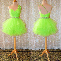 Wholesale Lime Green Short Ball Gown - New Style Sexy One Shoulder Lime Neon Short Ball Gown Party Prom Dresses Gowns
