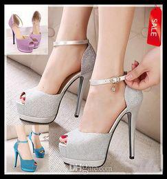 Promotion chaussures habillées pour les femmes prix Pompes Prix le plus bas paillettes chaussures de mariage élégant argent stiletto plate-forme de talon haut de femmes de talon chaussures sexy robe rose bleue