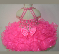 Wholesale New Fuchsia Rosie Girls Kids Pageant Dresses Formal Occasion Tiers Beaded Organza Halter Mini Prom Party Baby Little Girl Gowns Hot