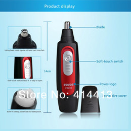 Wholesale Free Shippment Profession POVOS PR209 Wet dry Stainless Steel Blades Facial Nose Hair Trimmer Nose Care Black Red AA Battery