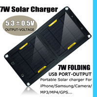 Wholesale 7W Solar chargaer floding USB port to charge portable panel for iphone samsung laptop mobilephone