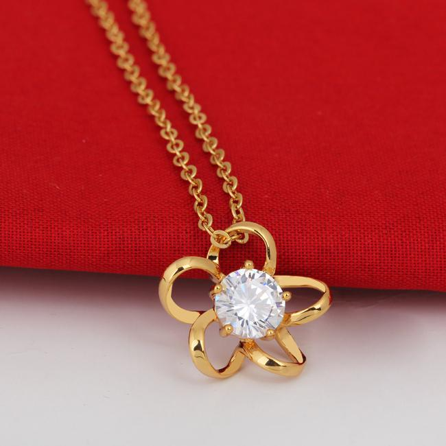 Buy 18K Yellow Gold Filled Pendants Necklace Flower Plating Jewelry Women Lady Party Presents D0506-J-B*1