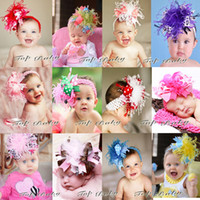Wholesale 10Pcs Kids Baby Christmas Hair Band Feather Silk Hair Flower Headbands Children Head Wear Photography Prop Hair Accessories