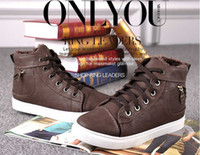 Lace-Up Men Spring and Fall new 2014 mens winter shoes fashion casual warm sneakers with fur canvas sport skateboard shoes for men Size 7-10 XN12